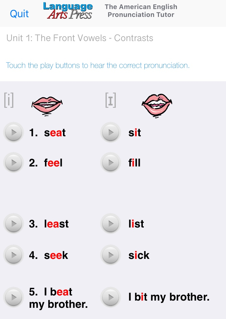 Snapshot of the English Pronunciation Tutor app