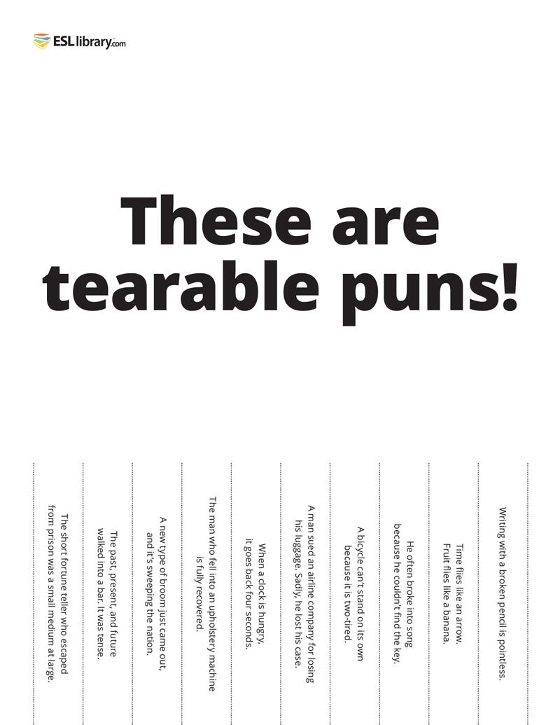 a tearable puns sheet