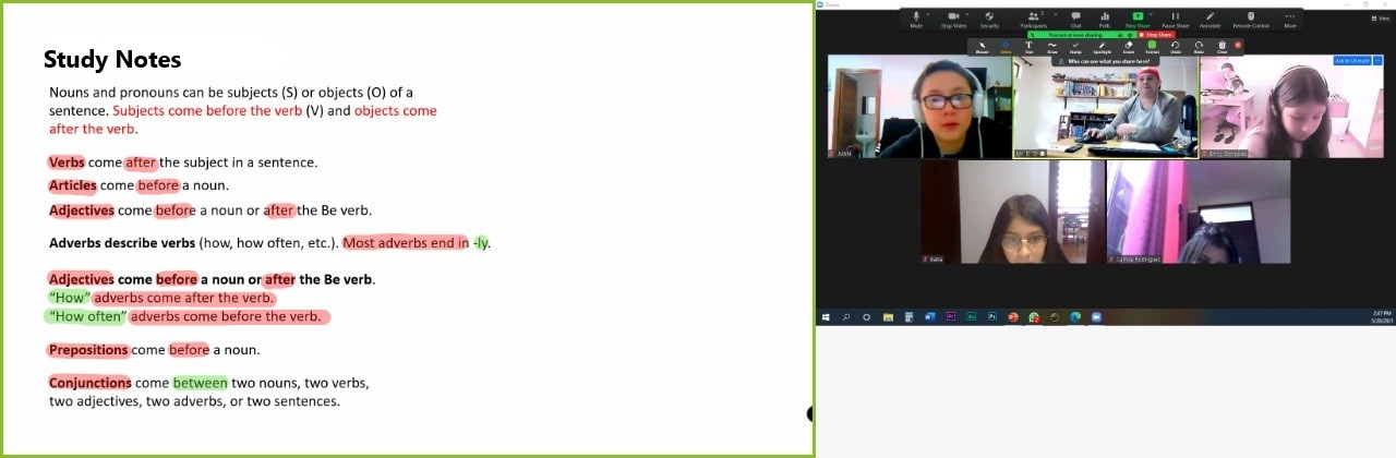 On the left, a screenshot of some study notes with some terms highlighted. On the right, a screenshot of a video call with Danny and his students