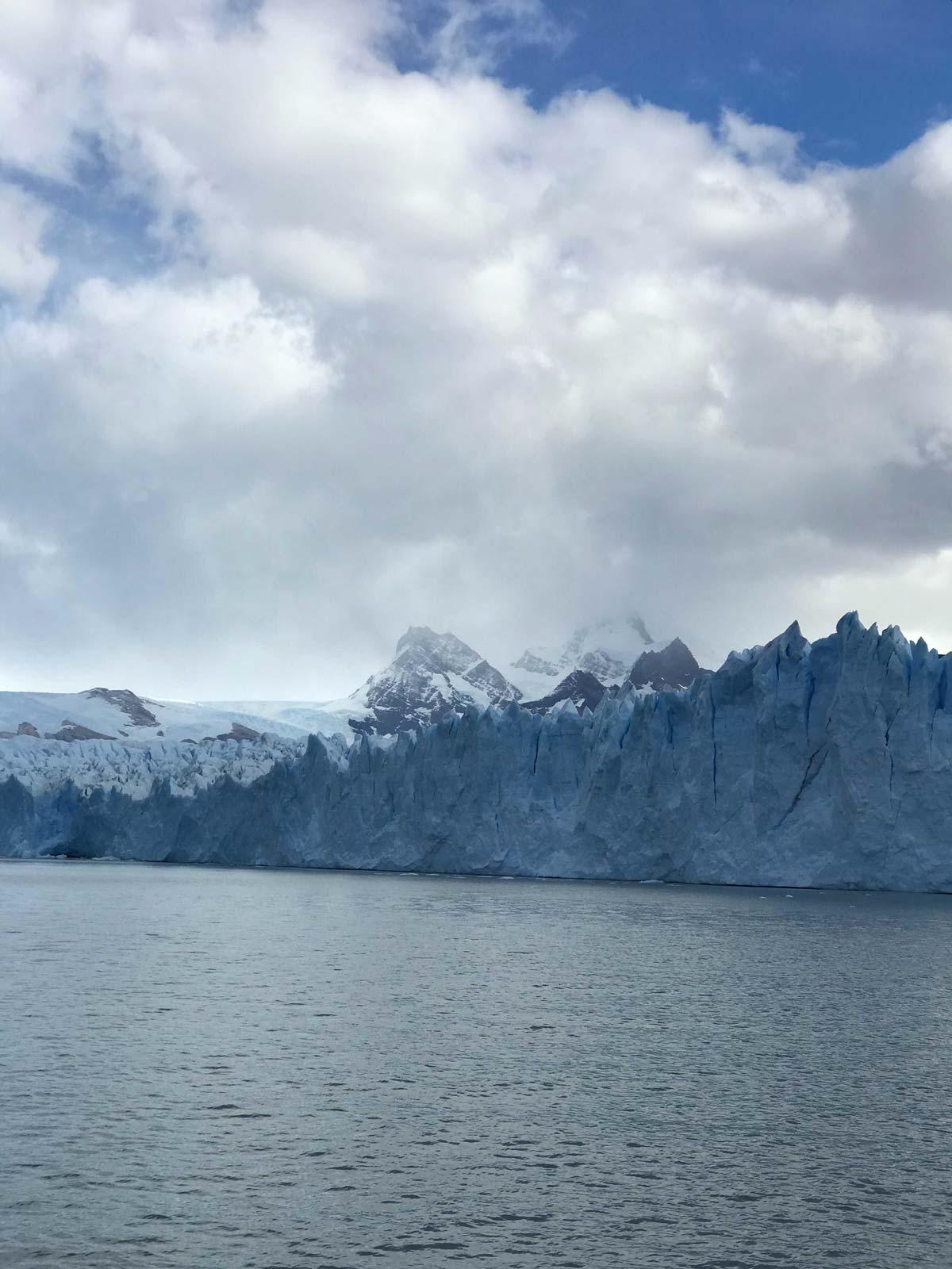 View of the Perito Moreno Glacier from a boat