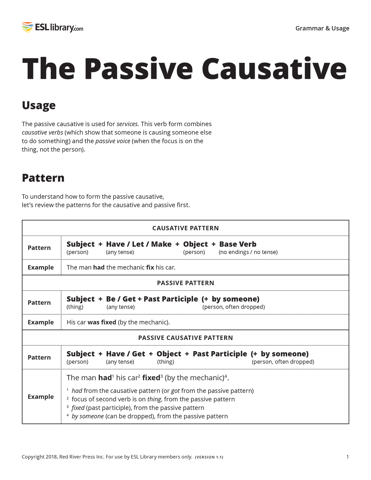Screenshot of ESL Library's The Passive Causative resource