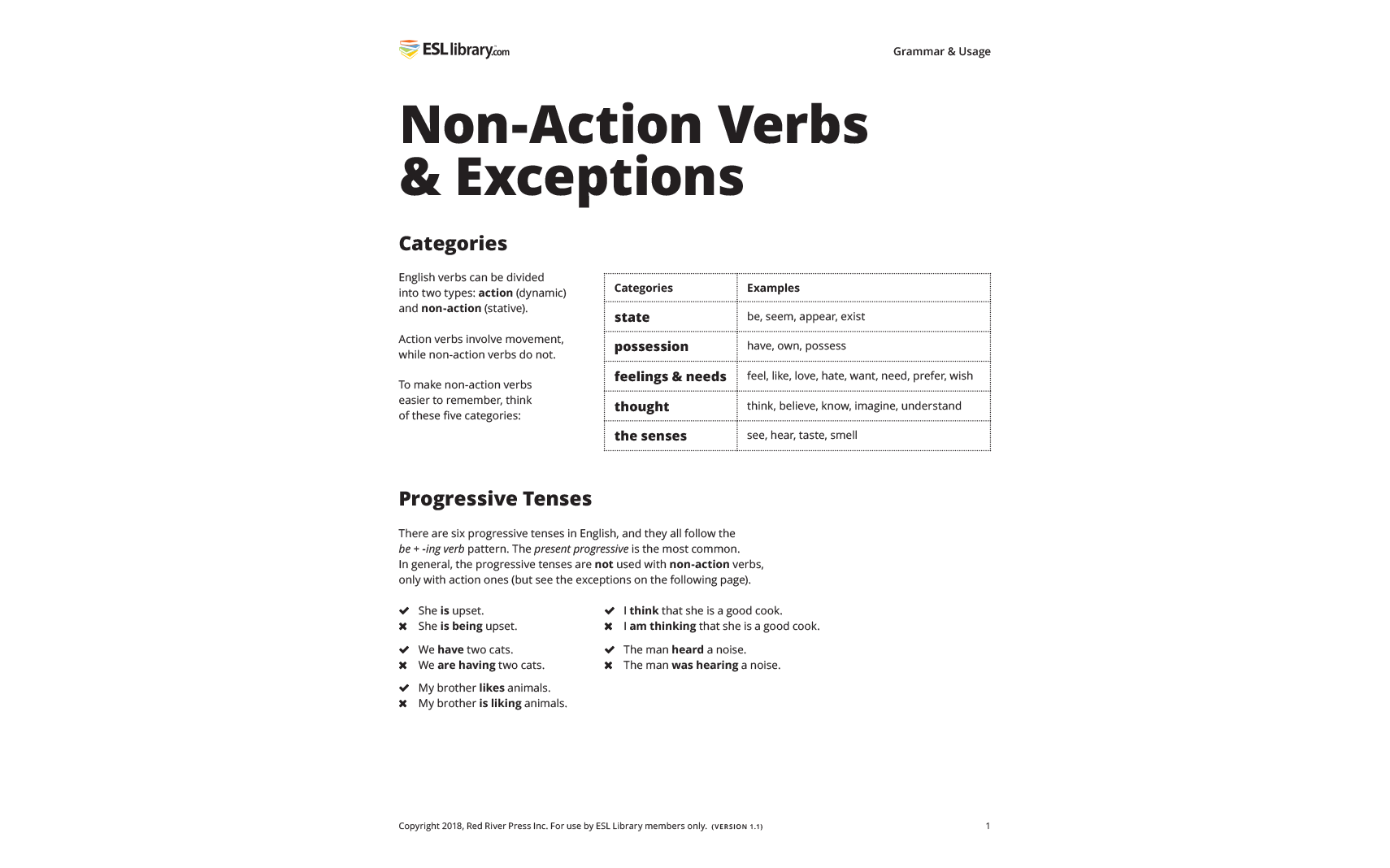 Non-Action Verbs and Exceptions Resource