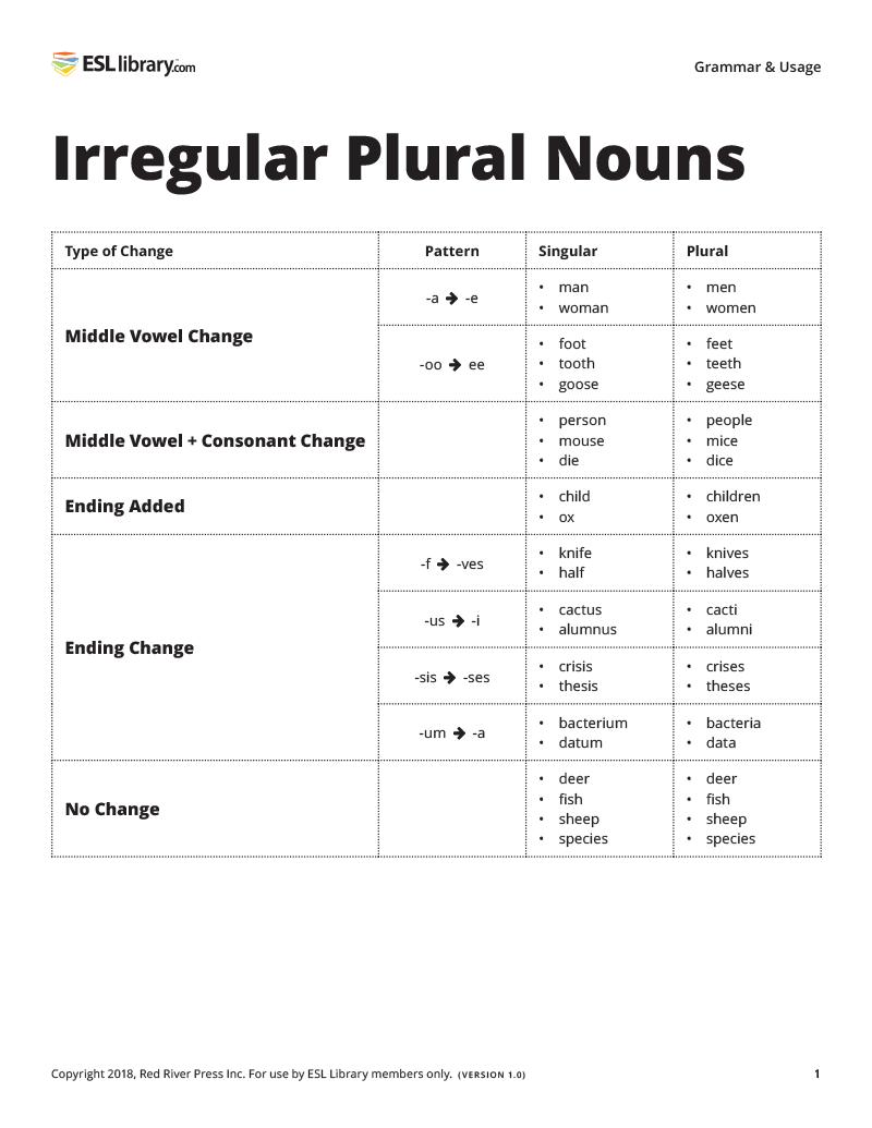 Irregular Plural Nouns resource