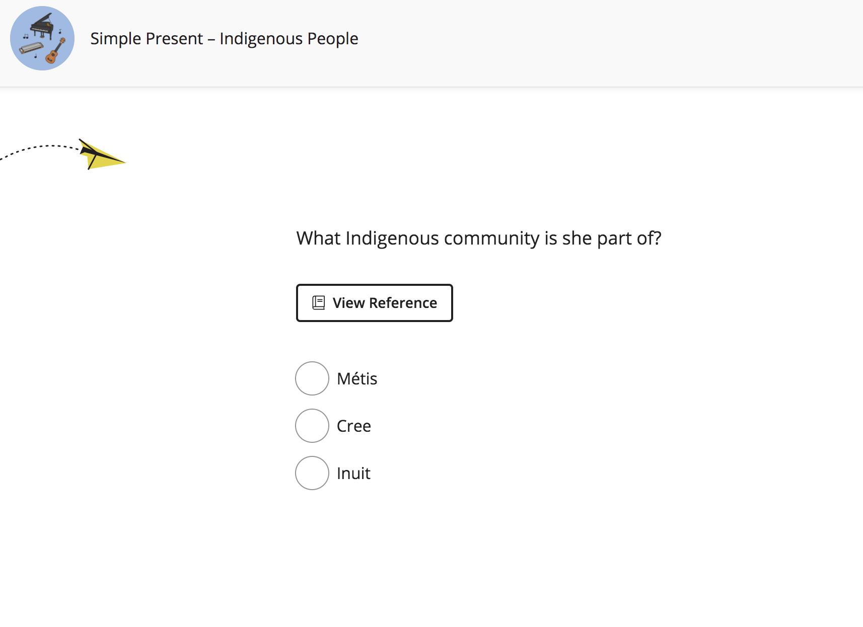 Screenshot of a digital task from Simple Present –Indigenous People